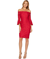 Adrianna Papell - Off the Shoulder Lace Sheath Dress with Flared Sleeve